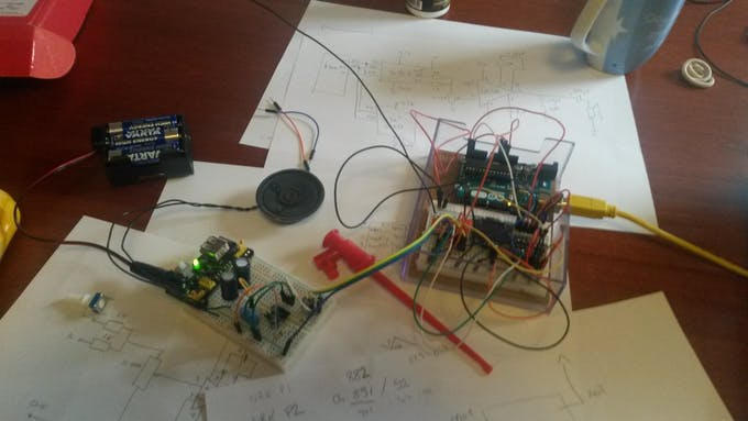 First prototype with Arduino Uno and improper amplifier circuit layout