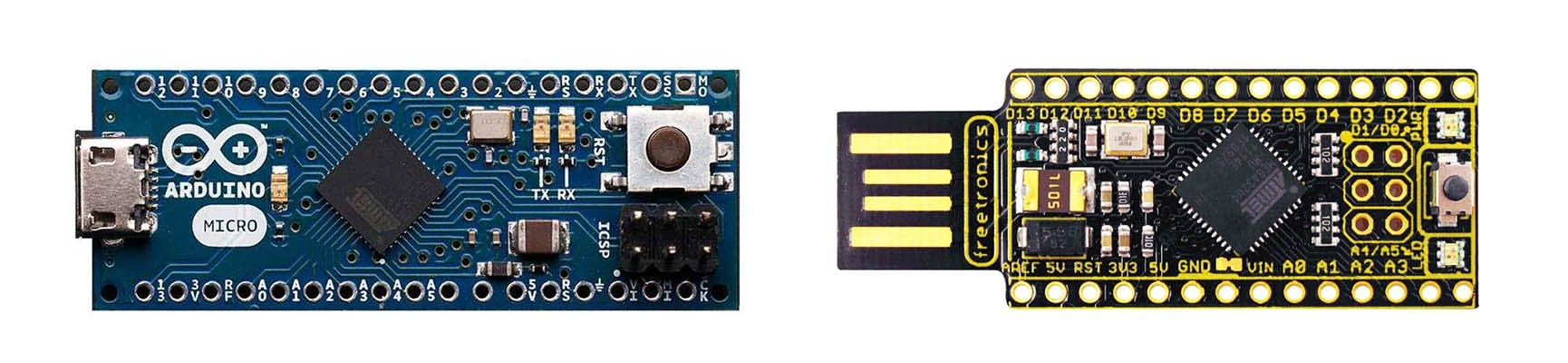 Arduino Micro vs Freetronics LeoStick (to scale)