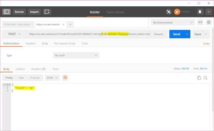 Send data to OLED screen via PostMan (