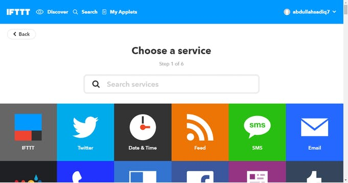 Choose a service, for example Gmail