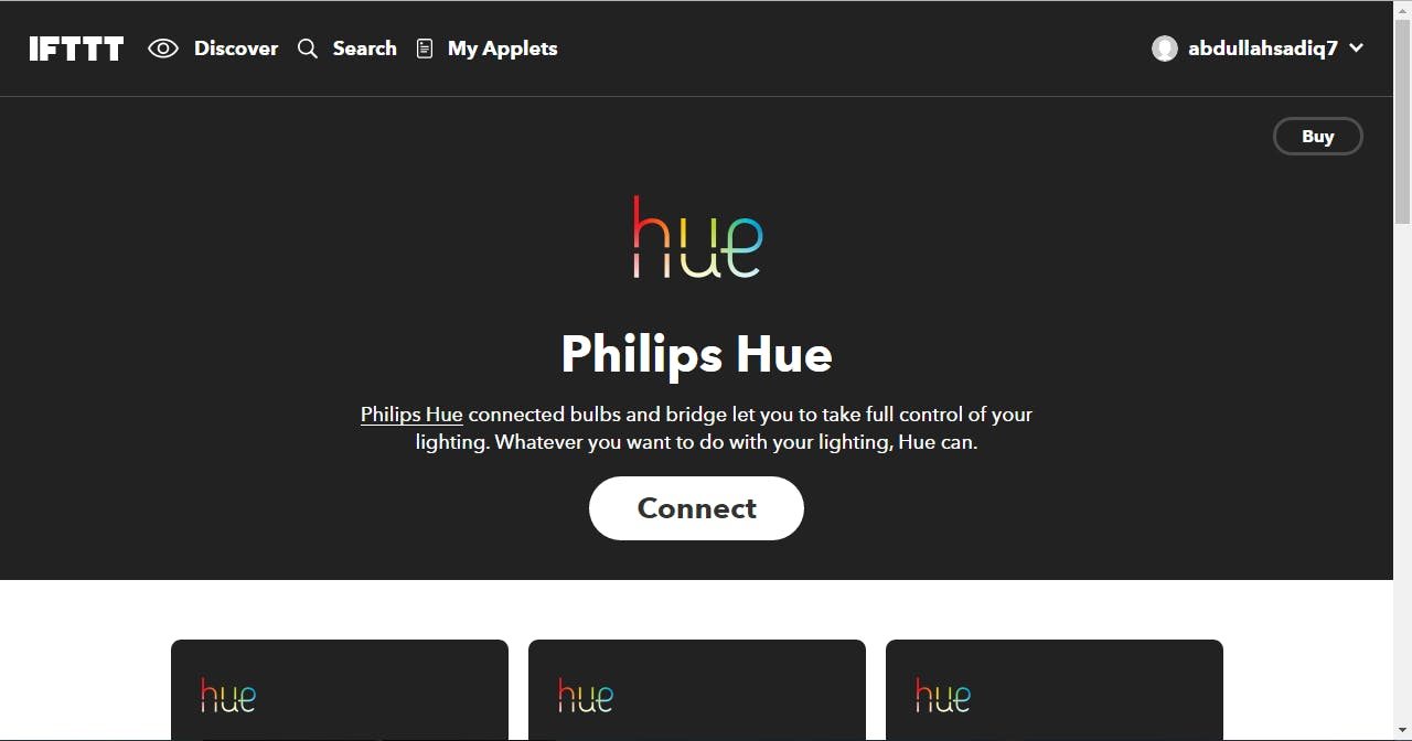 Philips Hue IFTTT page