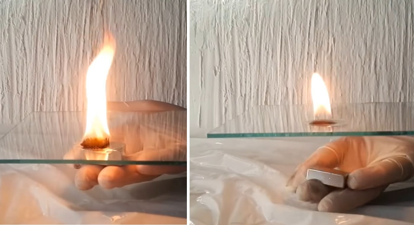 Flame before (right) and after the magnetic field was applied
