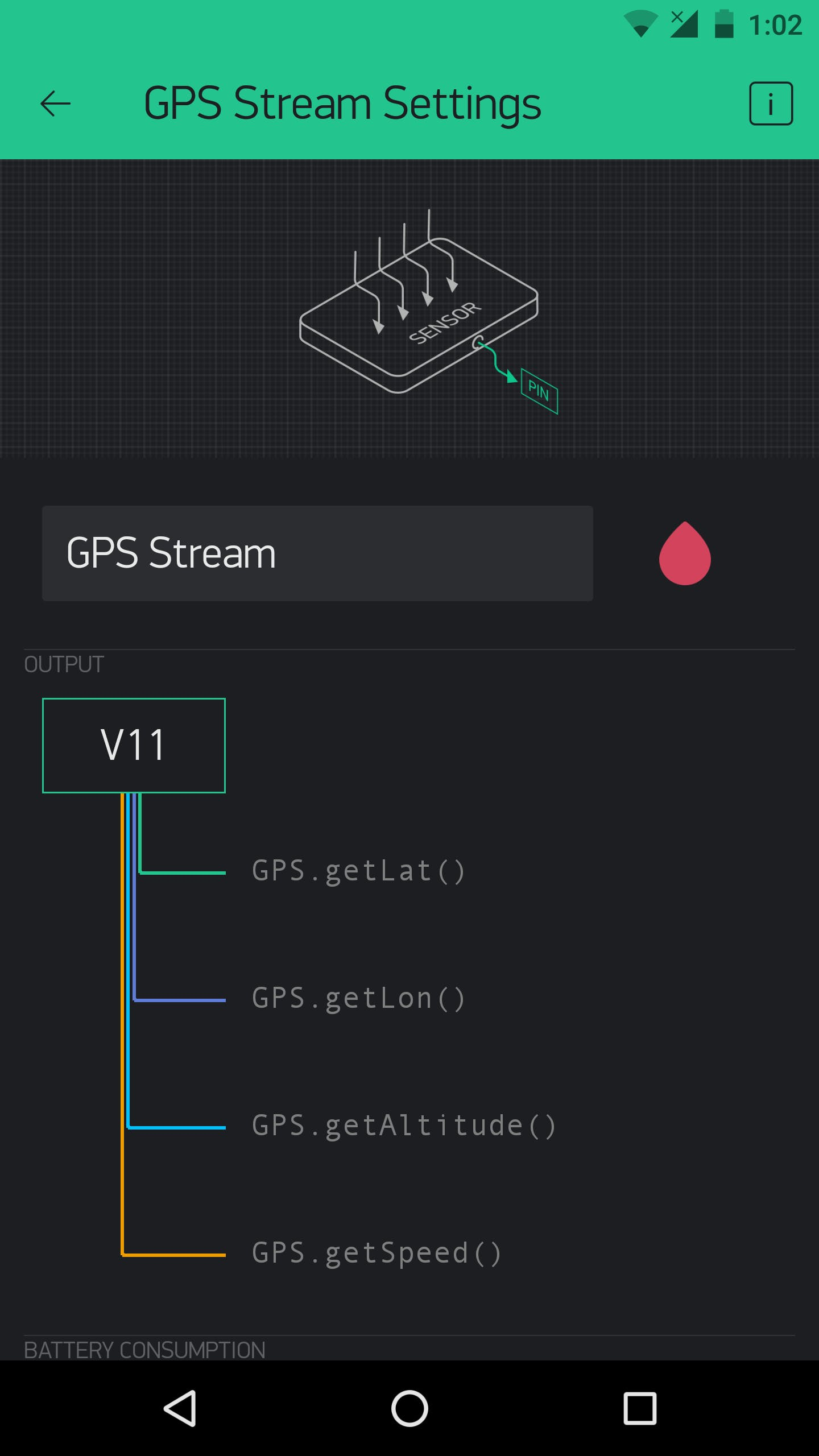 The GPS Stream sends your smartphone's geographical location to a specified virtual pin