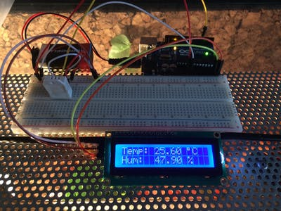 Arduino DTH22 Humidity Temperature With LCD I2C 16x2 Display