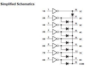 ULN2803 - Simplified Schematics