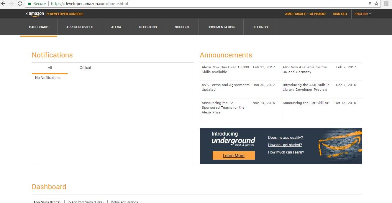 Login to your Amazon Developer Account