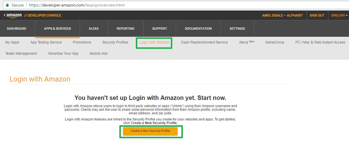 Login with Amazon and Create a New Security Profile