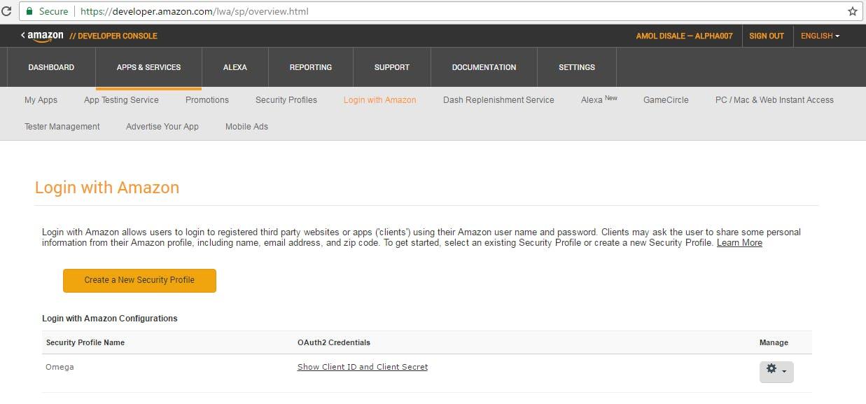 Security Profile Created Successfully