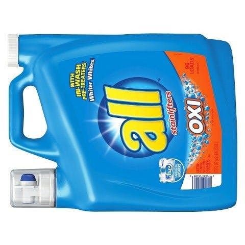 Bulk liquid detergent with dispenser