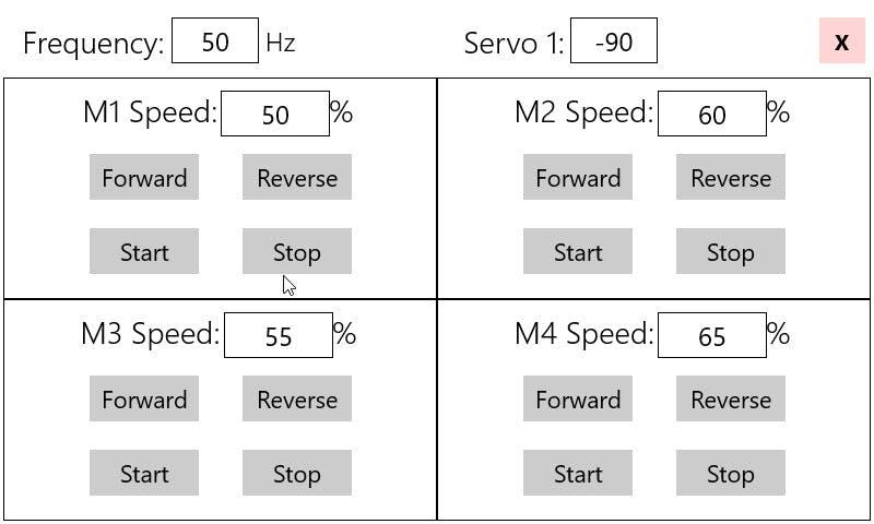 RoverMotorTest application GUI