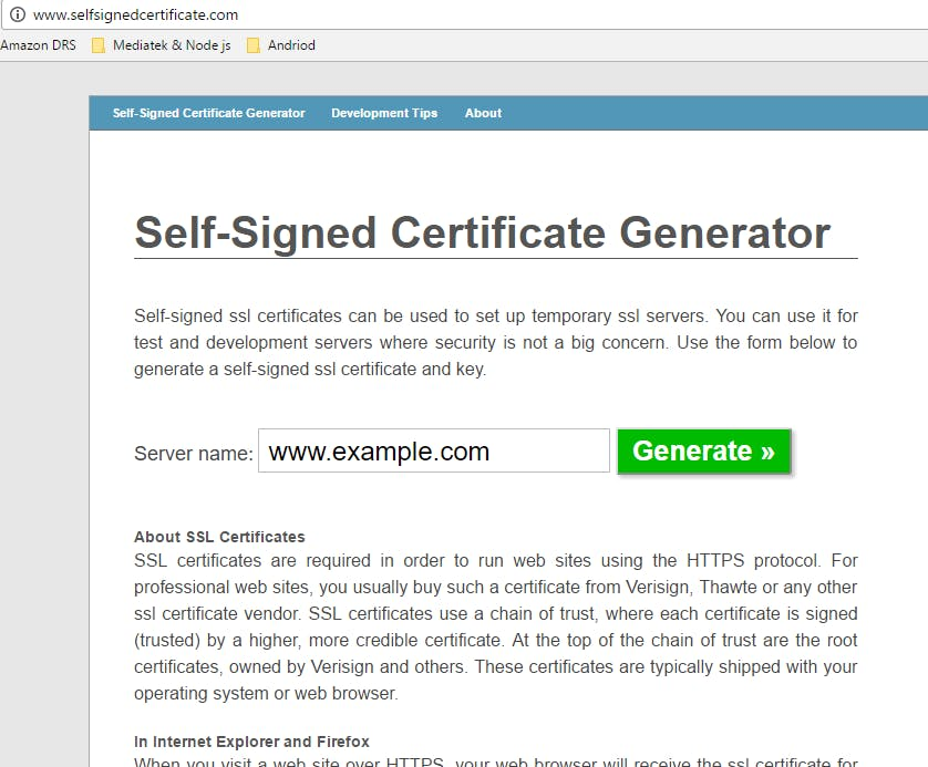 Generating Key and certificate