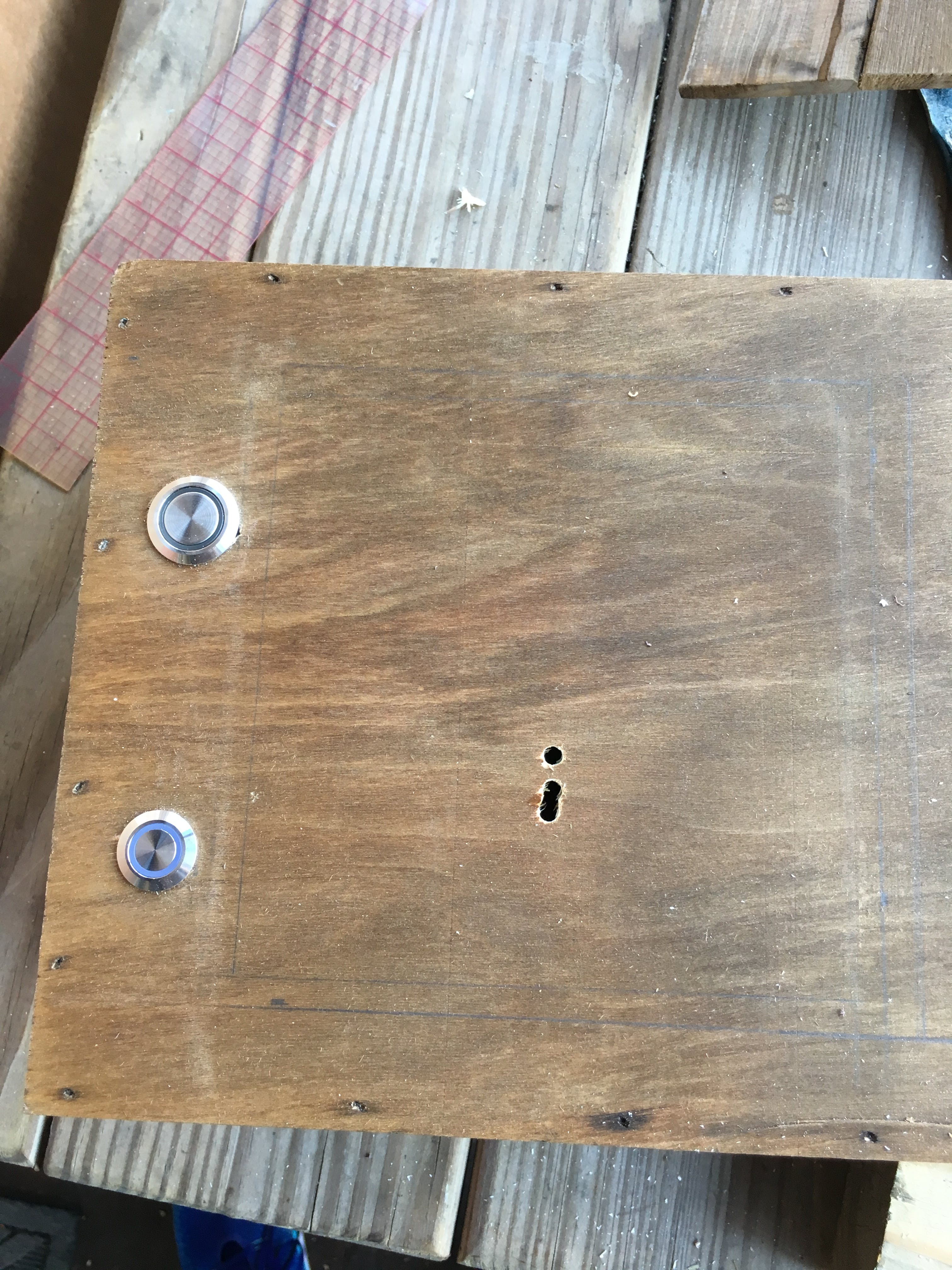The power button added and prepared for the jig saw