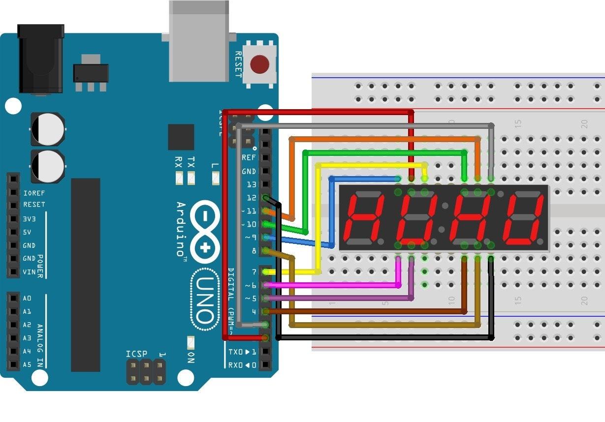 programming 4 digit 7 segment led display arduino project hubprogramming 4 digit 7 segment led display