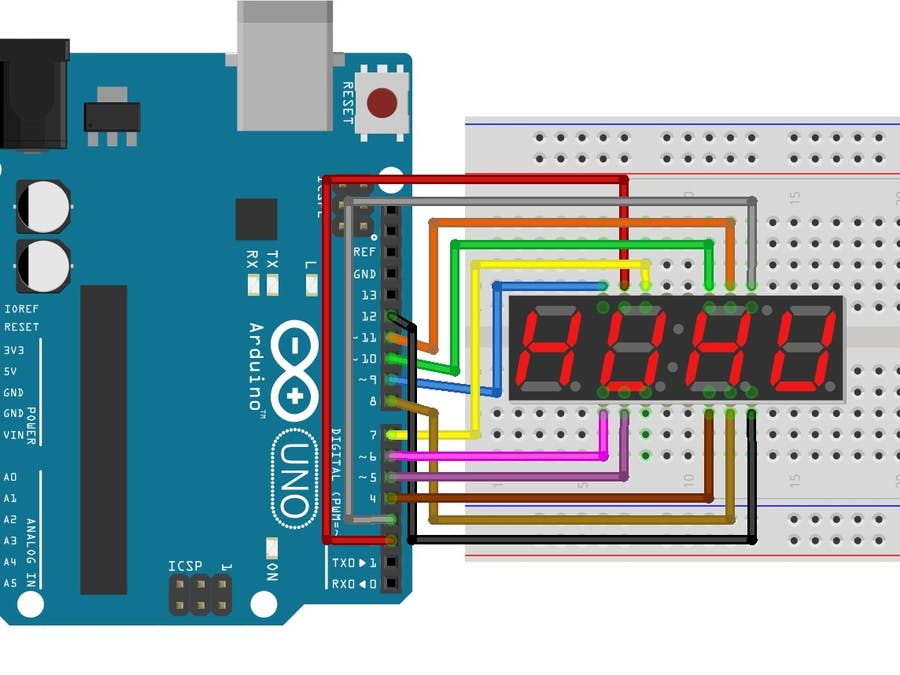 Programming 4 Digit 7 Segment LED Display - Hackster io