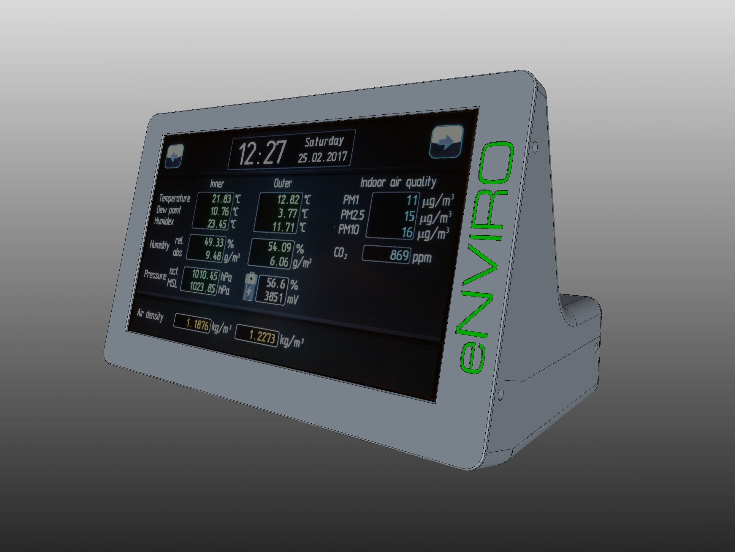 Enviro 7 Quot Touch Panel Weather Station With Remote Sensor