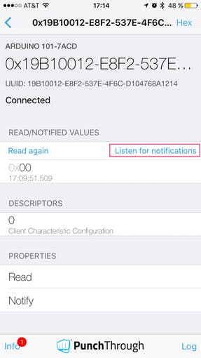 Select 'Listen for notifications' to subscribe to all changes.