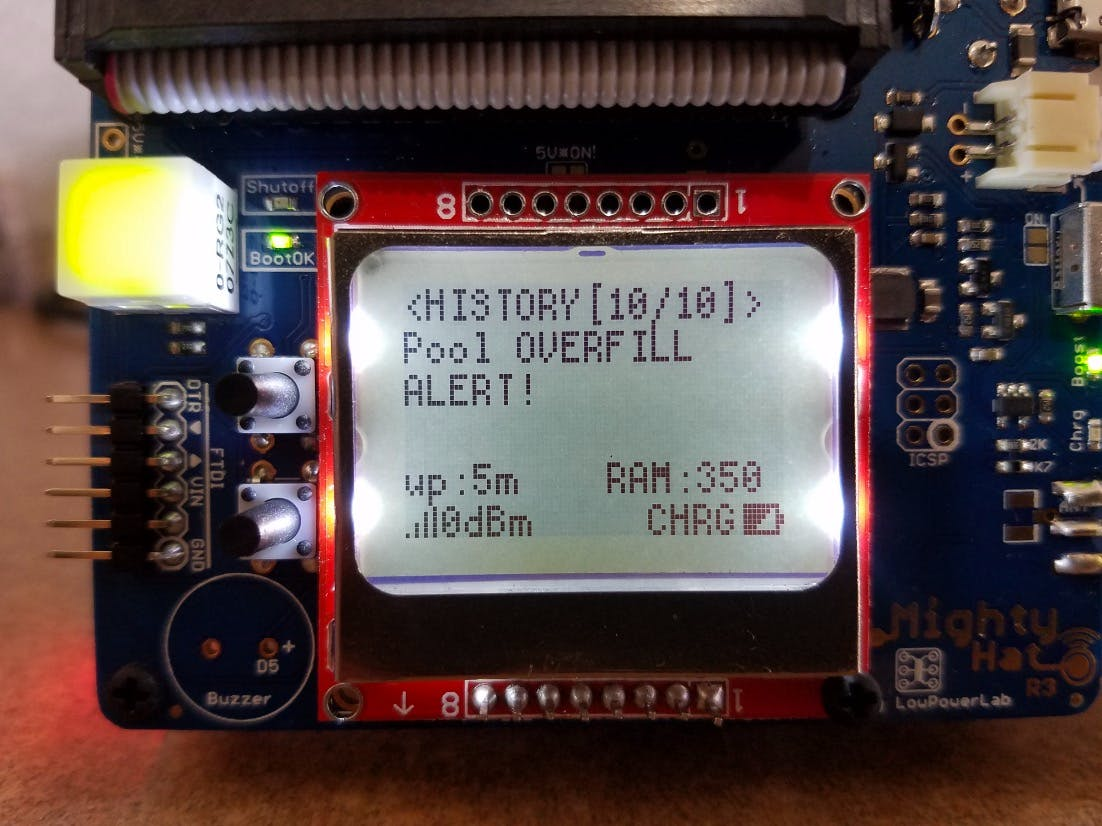 Closeup of MightyHat on Pi3 showing Overfill Alert