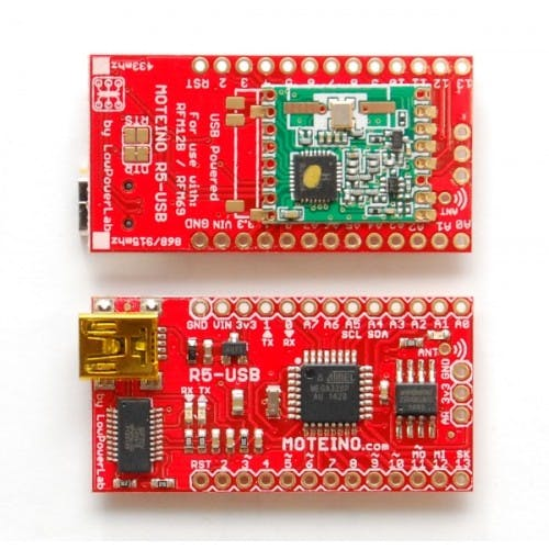 Moteino R5-USB with Flash and RFM69HW 433Mhz transceiver