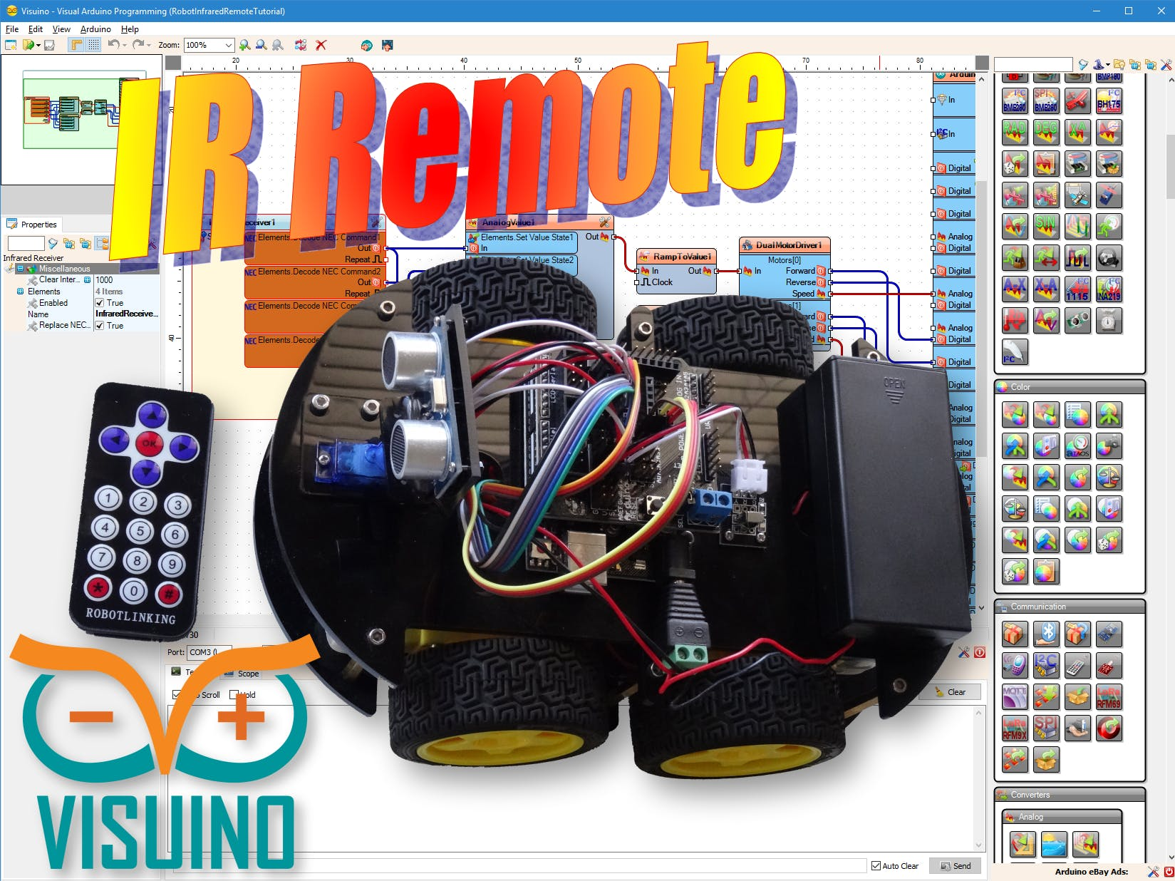 Visuino: Infrared Remote Controlled Arduino Smart Car Robot