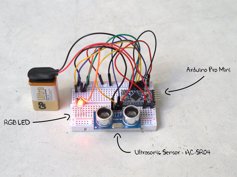 Arduino pro mini, RGB LED and UC-SR04