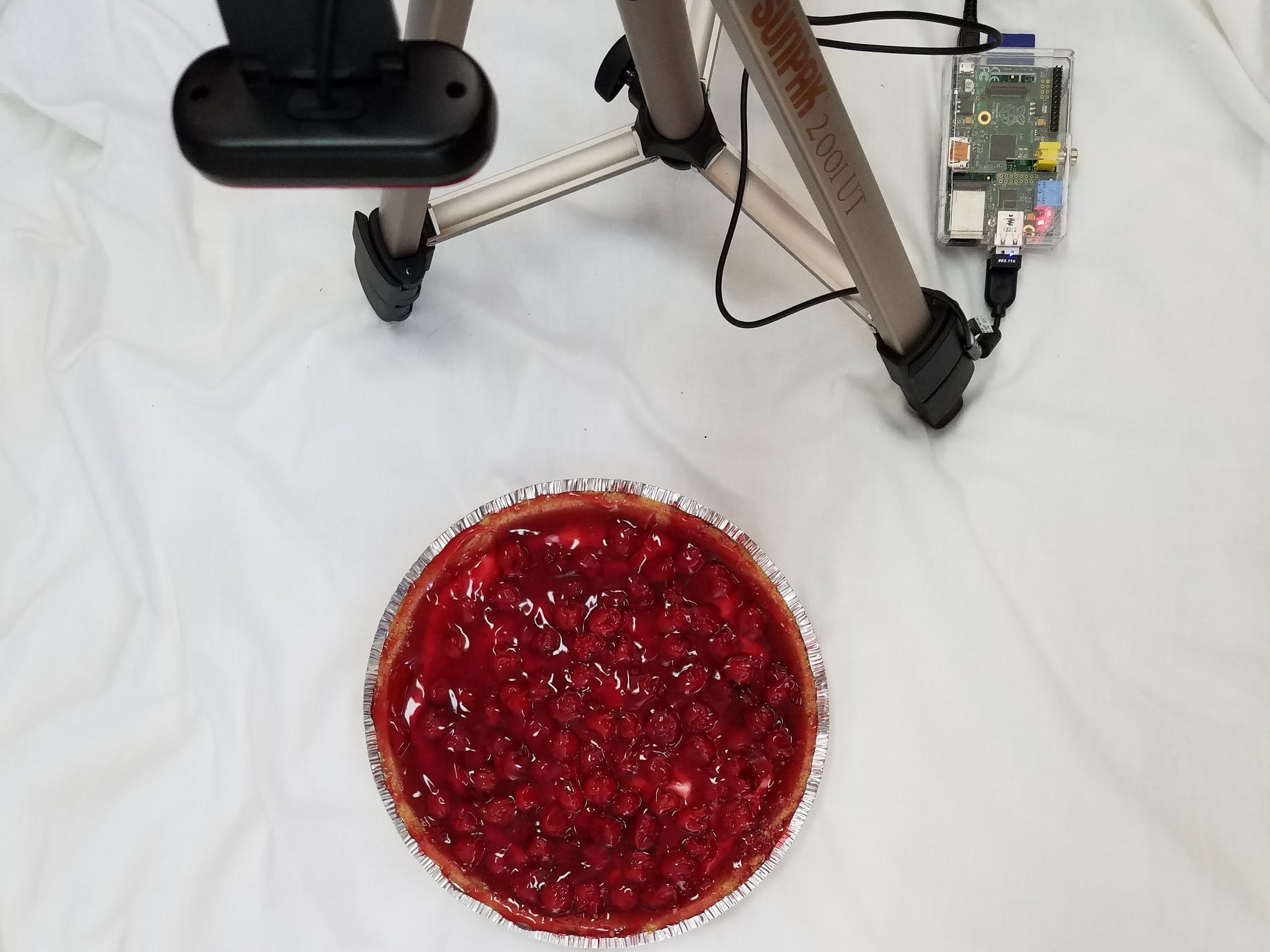 Calculate Pi with a Raspberry Pi and a circular Cherry Pie.