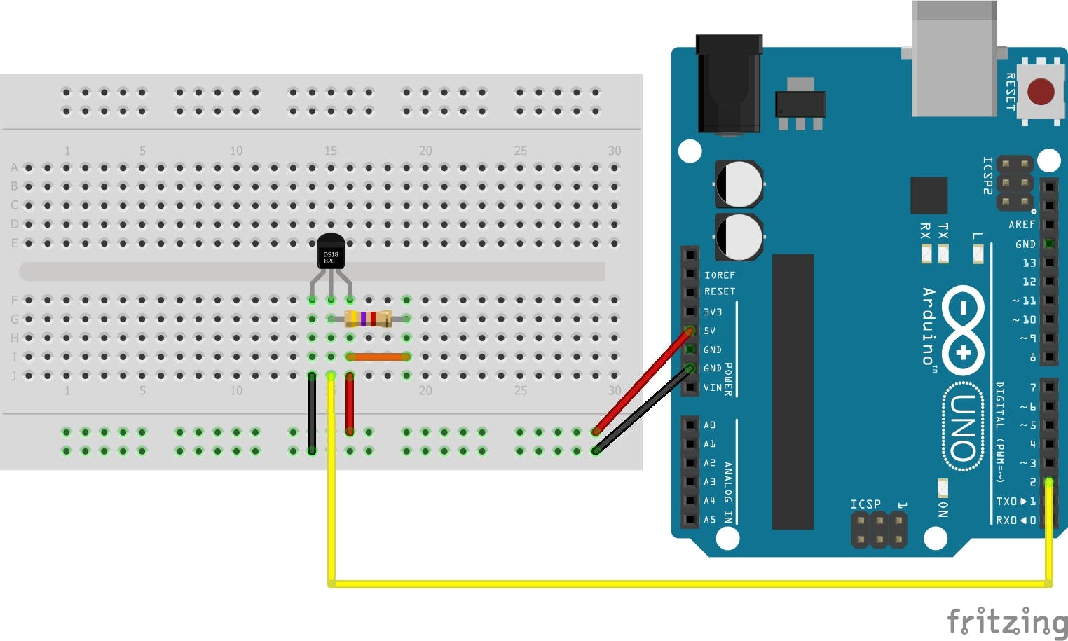 Breadboard hook up of the temperature sensor. Note, the DS18B20 is available in a waterproof package. We chose the breadboard package so the reader can follow the connections.