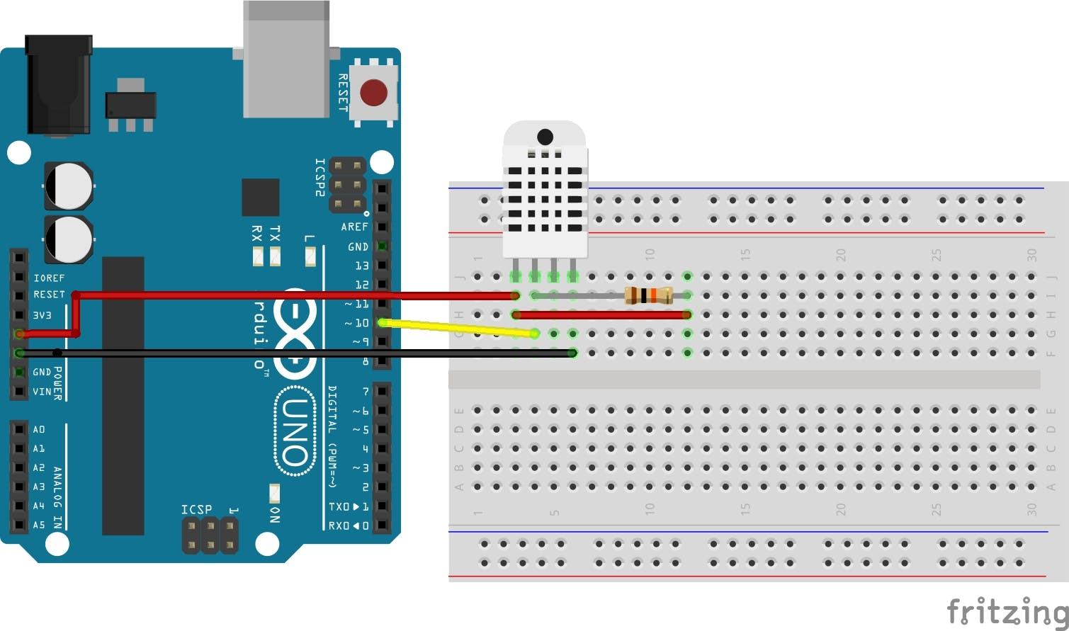 Hookup instructions for the DHT22 sensor. (From left to right) pin 1 is Vcc and should be connected to 5V. Pin is 2 is data and should be connected to 5V through a 10k pull-up resistor. Then connect Pin 2 to Digital Pin 10 on the Arduino. Pin 3 of the DHT22 sensor is unused, leave it floating. Finally, connect pin 4 to ground.