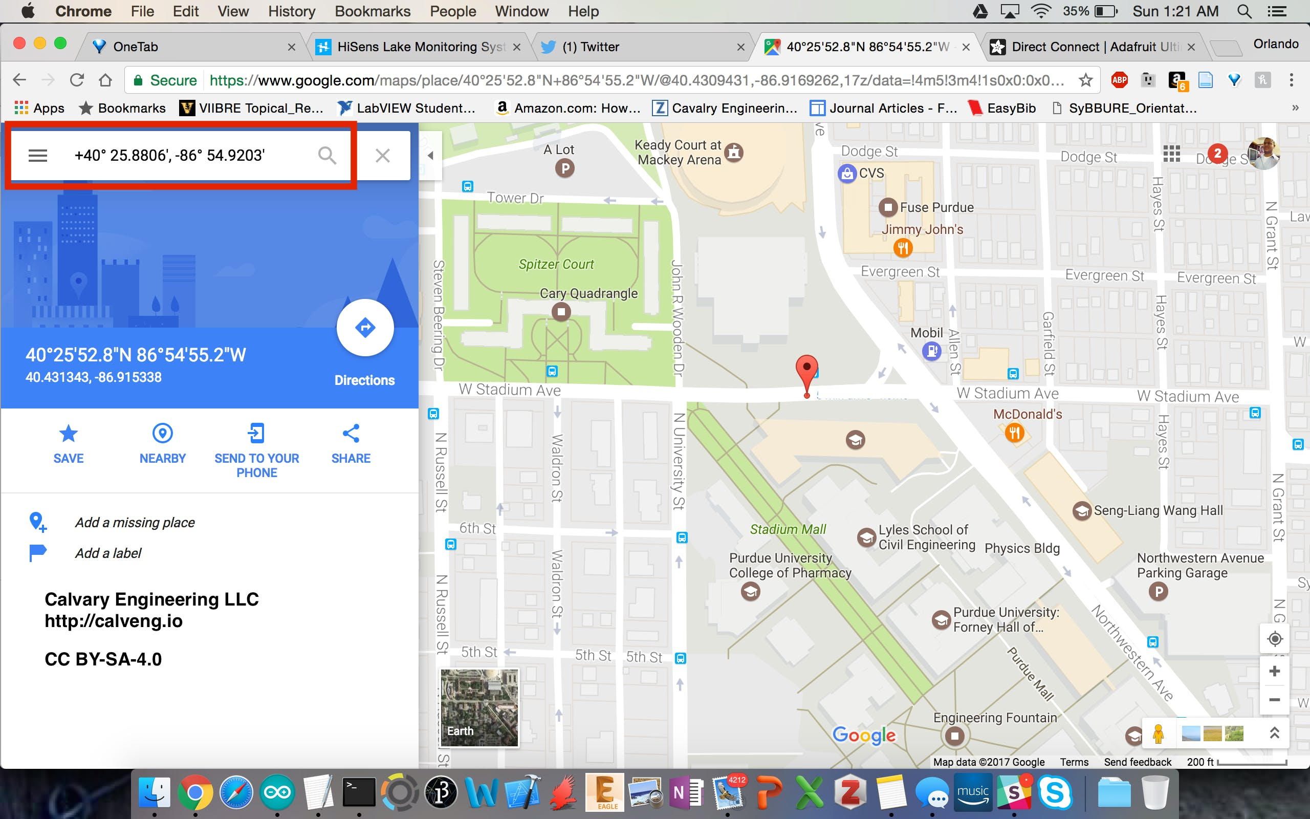 Google Maps data to verify GPS module data. Very accurate! I was sitting in my car outside Neil Armstrong Hall of Engineering and that's exactly where Google Maps pinned me.