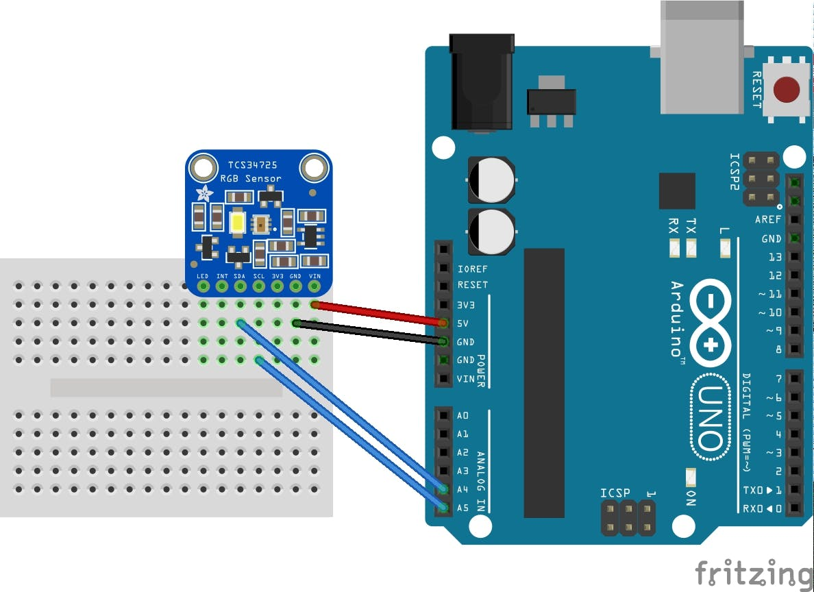 Fritzing diagram showing connections for Adafruit color sensor breakout.
