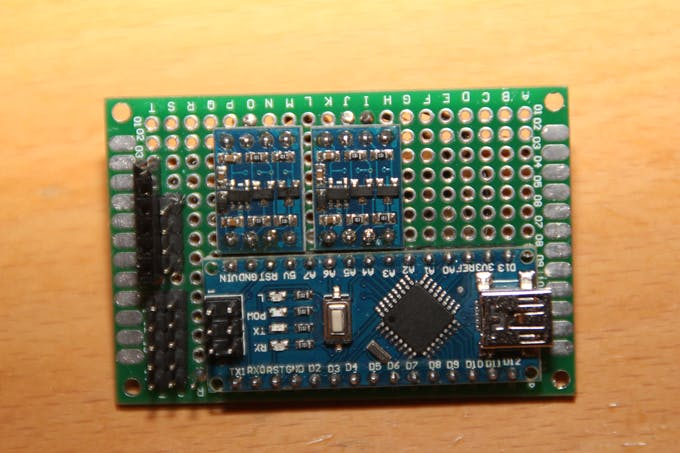 Perfboard with Arduino Nano and I2C-shifters (front view)