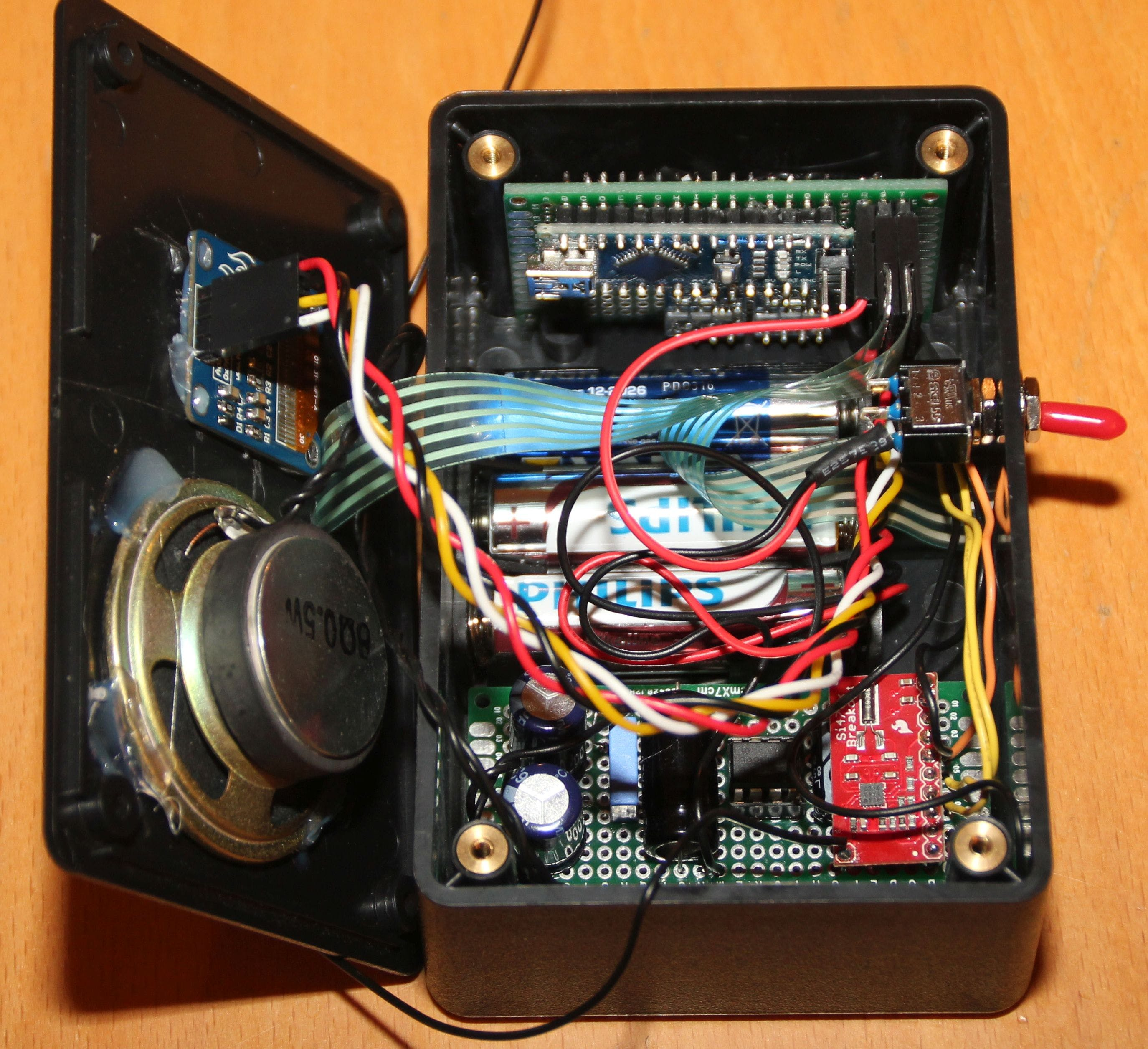 Radio enclosure opened