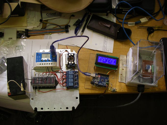 Whole system running happily in the workshop - 12 m of cable on I2C bus and its working