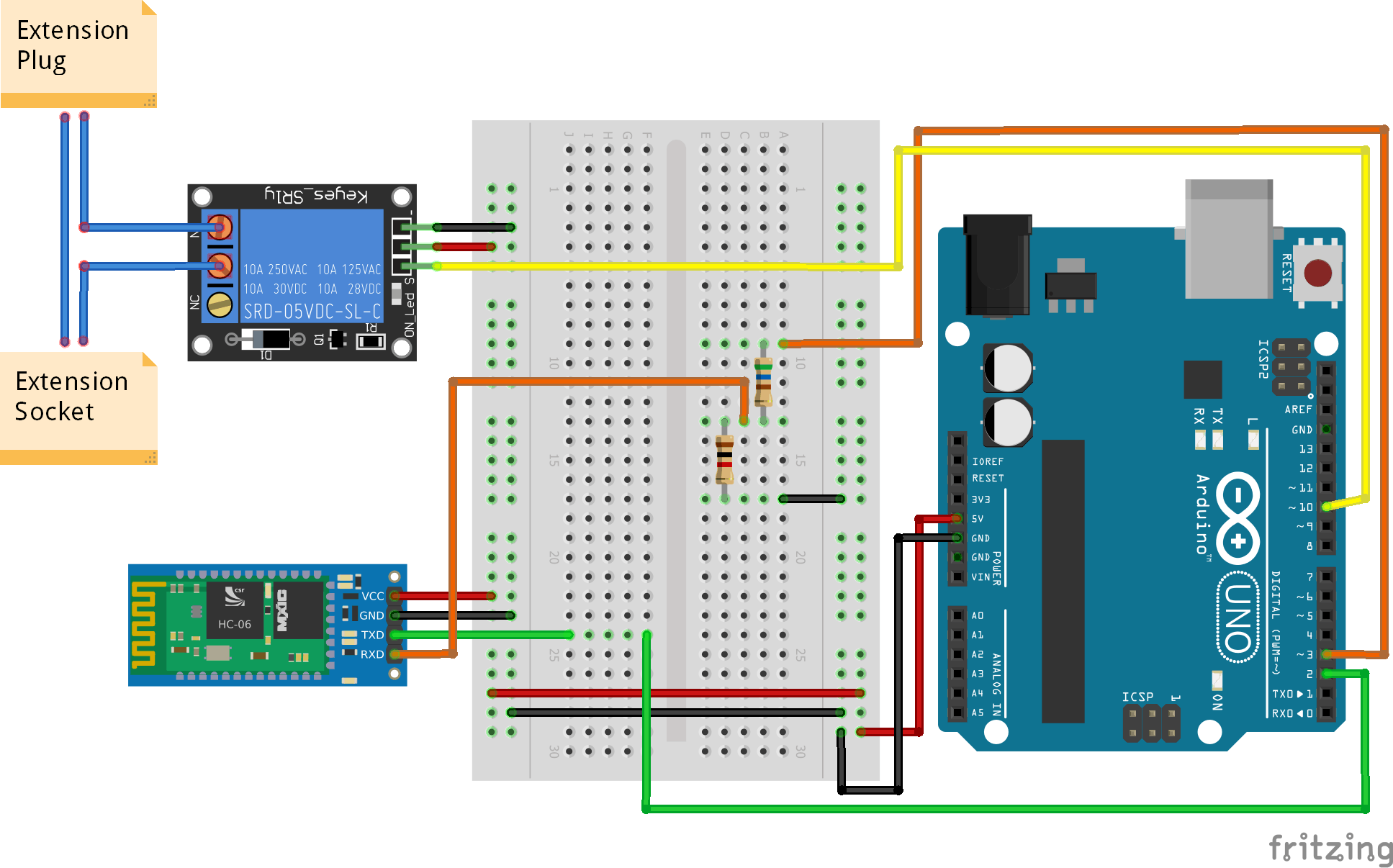 The extension plug and socket could not be represented very well in the breadboard schematic so i took a photo ( in the next photo )