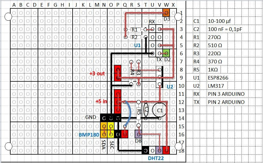 P.C.B. for BMP180, DHT22, ESP8266