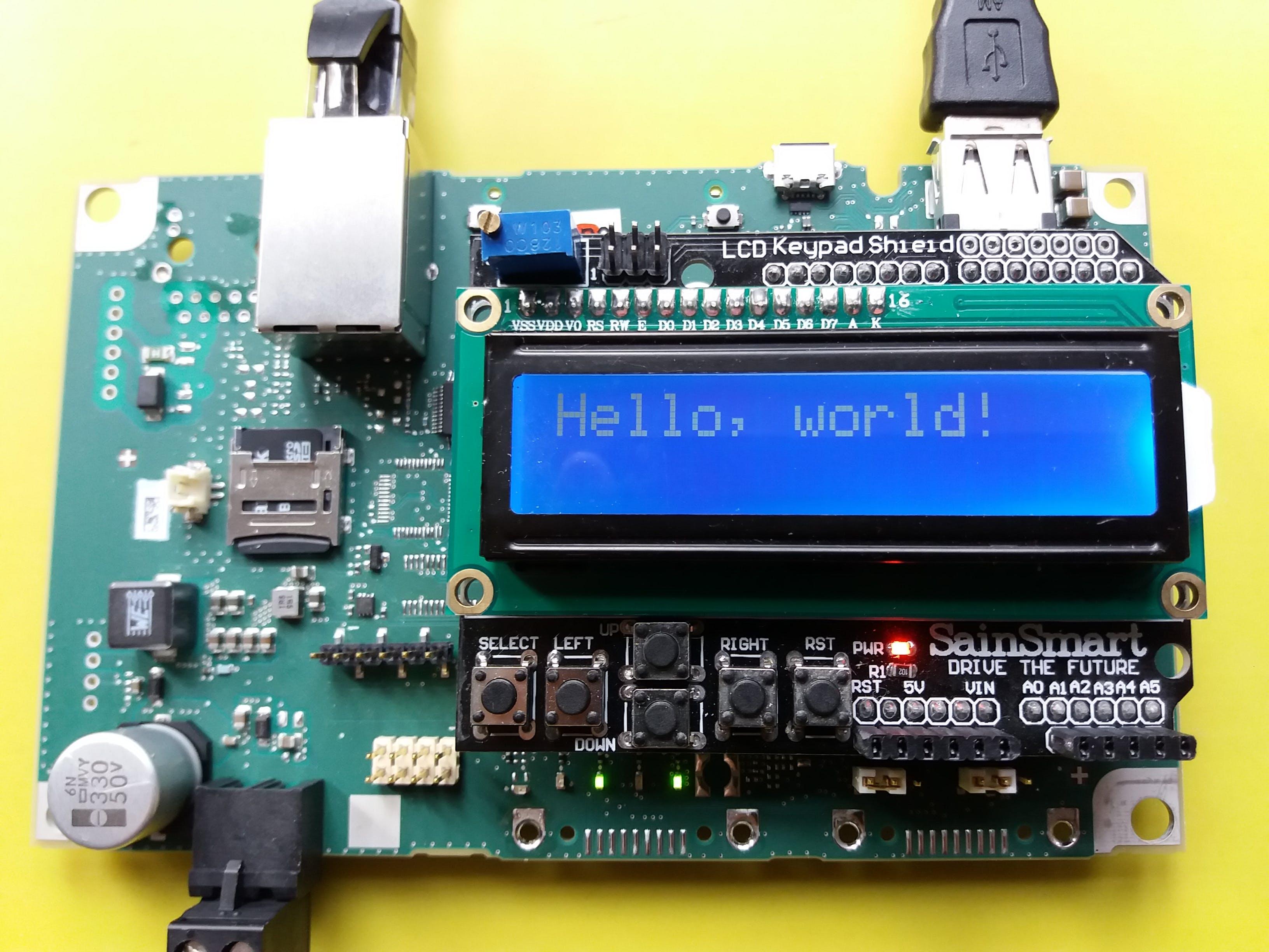 A Sainsmart LCD Keypad shield runs the library