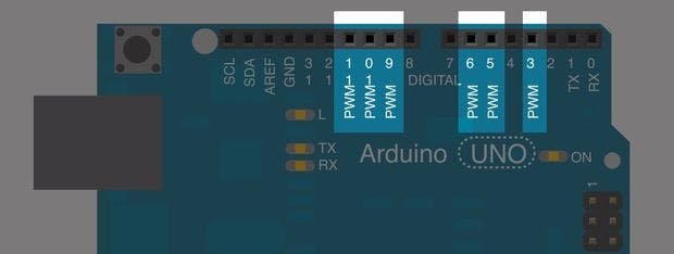 The Arduino UNO it has 6 digital pins that can be used as PWM outputs (3, 5, 6, 9, 10, and 11).