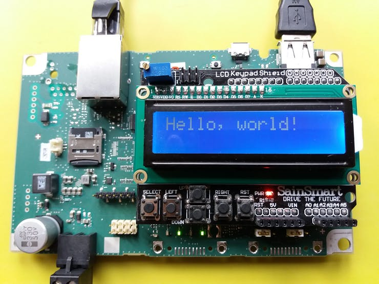 Proto LCD Shield works on the SIMATIC 2020. Final Design uses a separate LCD Display, not the SainSmart LCD Keypas Shield, because display shields are upside-down on the IOT2020