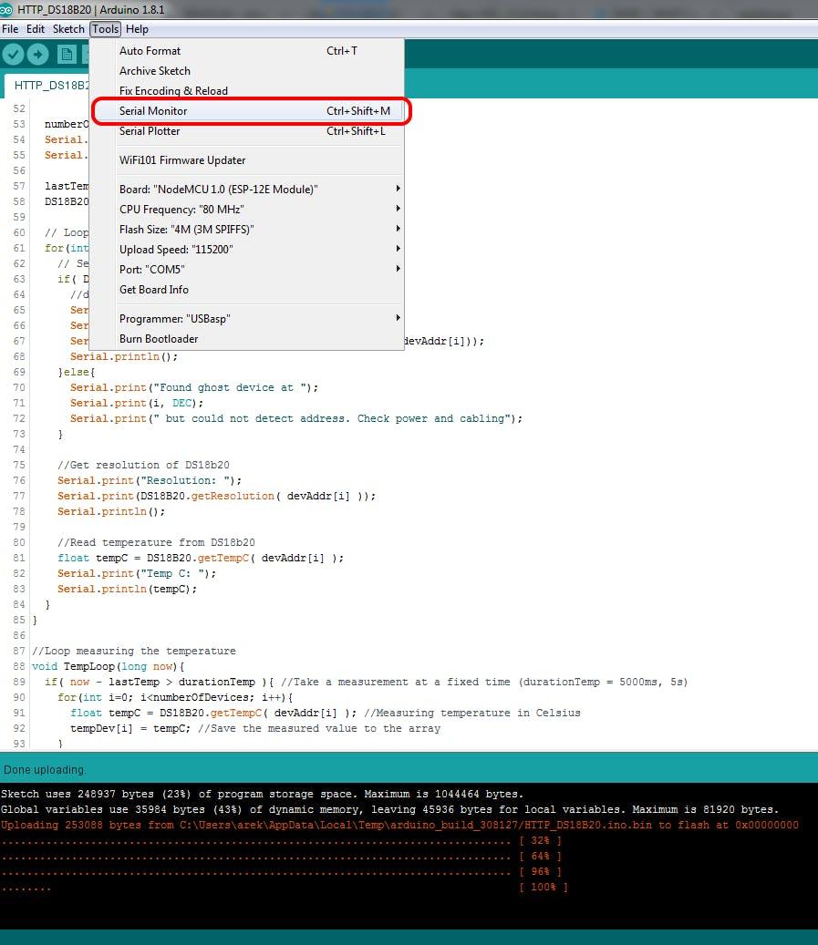 Select COM port with your ESP8266