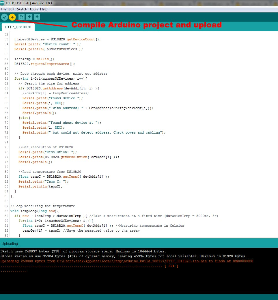 Press upload button in Arduino IDE