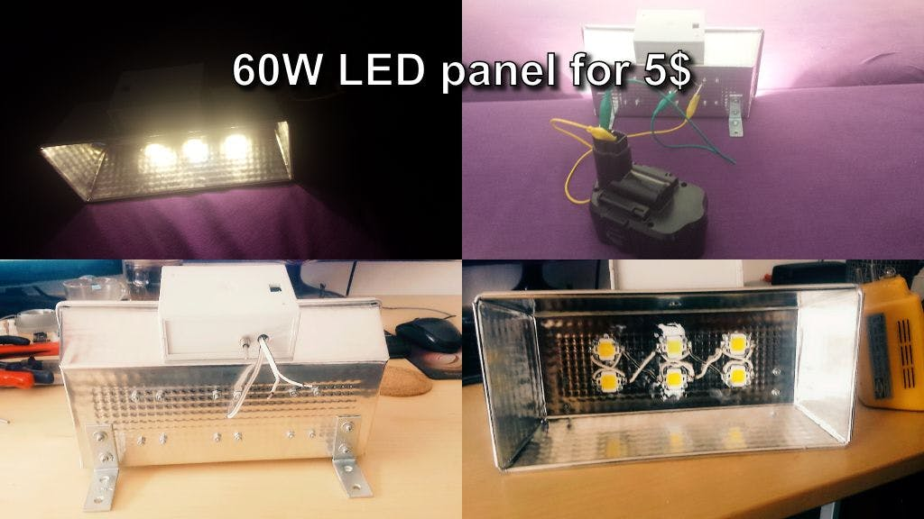 DIY LED Lights Panel for 5$ - Cheap and Easy 6 X 10W