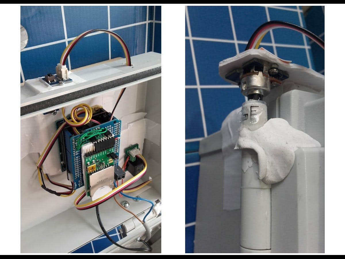 Arduino 101 with shield stack + Rotary Angle sensor moulded onto hinge