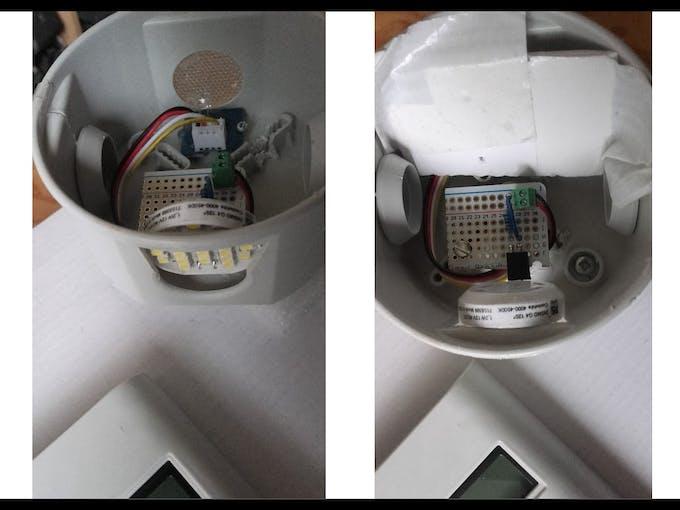 Grove Light Sensor + G4 LED Light Bulb + Divider in enclosure