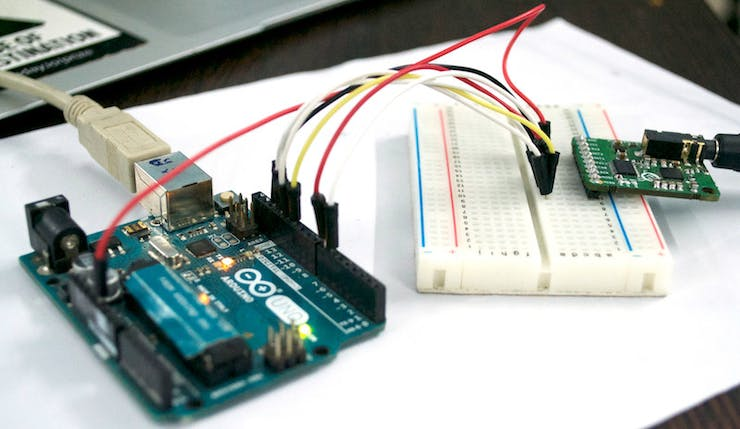 ProtoCentral MAX30003 board connection to an Arduino Uno