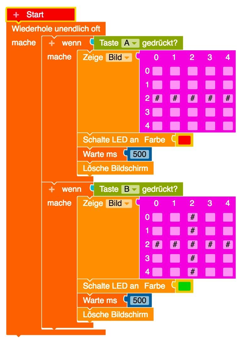 Code für den Quiz-Buzzer im NEPO-Editor