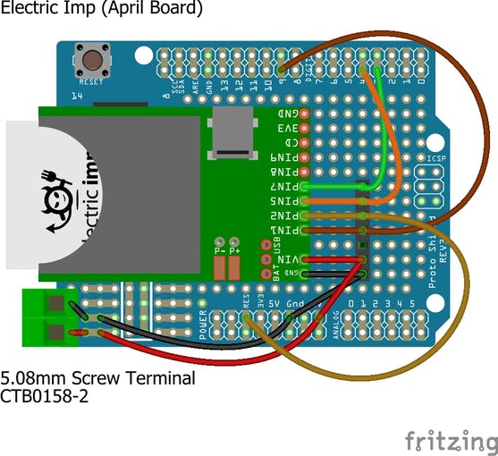 Protoshield with Electric Imp April Dev Board