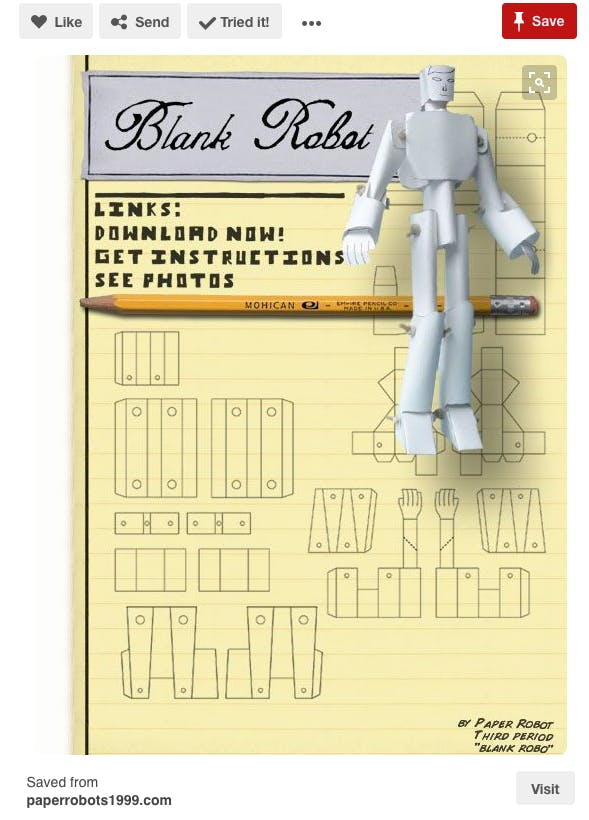 Paper Robot plans from PAPERROBOT1999.com (do an image search, as the website has changed)