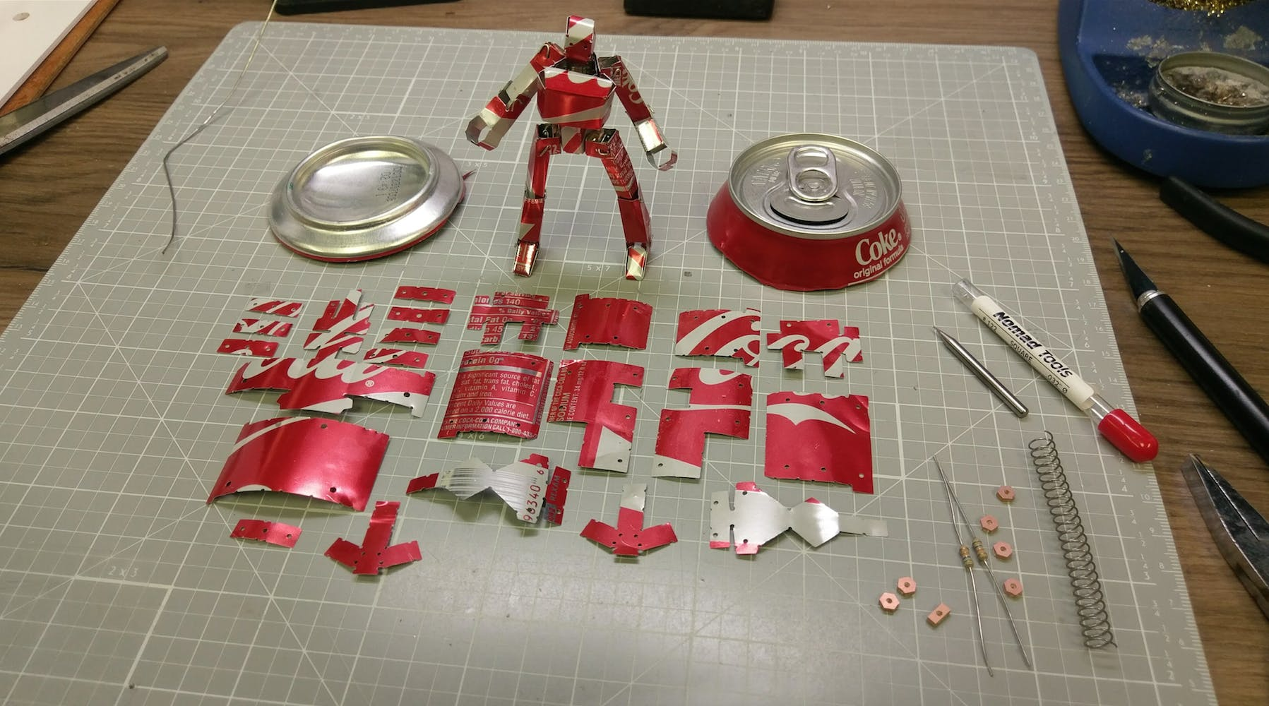 All the parts needed to make a Stop Motion Capable Recycled Robot