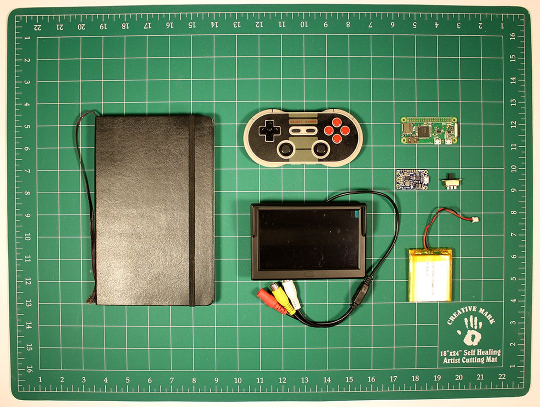 """Components (note the screen in the photo is 5"""" and I ended up using a 7"""" screen)"""