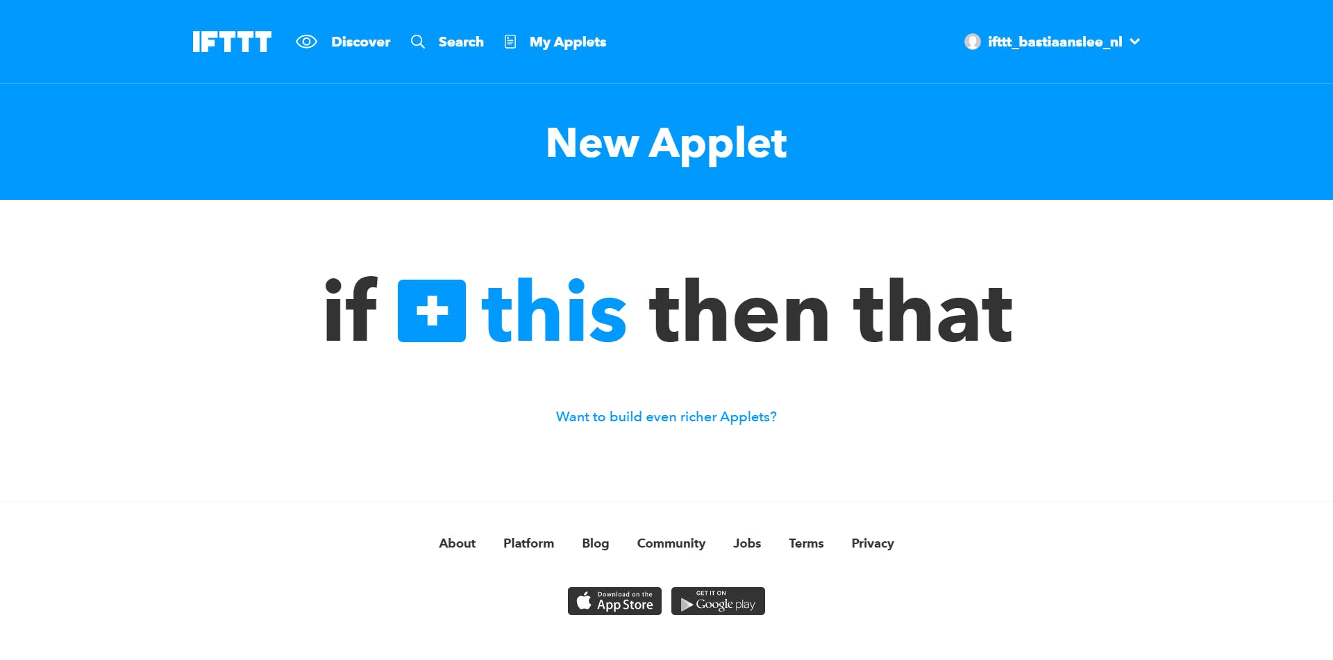 At the IFTTT website, start creating a New Applet, click the blue THIS text to continue