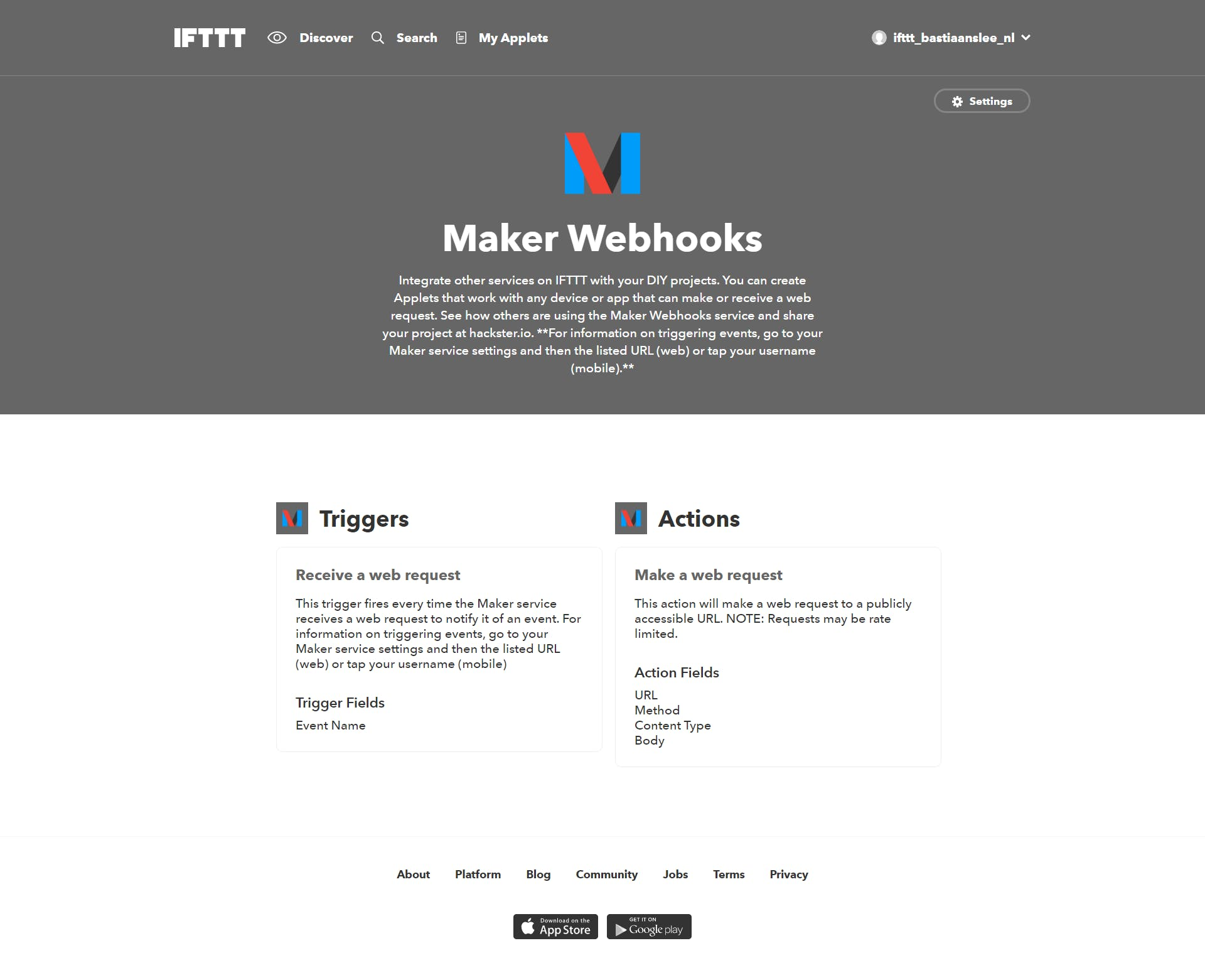 Go to the Maker Webhook homepage, and click the Settings link at the top right